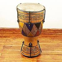 Wood saba djembe drum, 'Believe in Music' - African Djembe Drum Crafted by Hand and Professionally Tuned