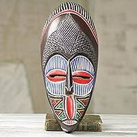 African beaded wood mask, 'Mpe Asem Bi' - African Beaded Wood Wall Mask Made by Hand