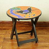 Wood folding table, 'Akukor' - Artisan Crafted Wood Folding Table with Beaded Top