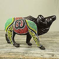 Mahogany wood sculpture, 'Adrinka Buffalo of Hope' - Beaded Wood Buffalo Sculpture with Adrinka Symbol of Hope
