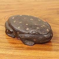 Wood box, 'African Frog I' - Frog Theme Dark Brown Hand Carved Decorative Wood Box