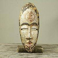 African wood mask, 'Gye Nyame Power' - African Wood and Aluminum Mask with Adinkra Symbol