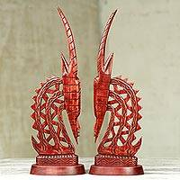 Mahogany statuettes, 'Bambara Antelopes' (pair) - Hand Crafted Wood Sculpture (Pair)