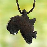 Ebony and leather pendant necklace, 'Star of Africa' - Handcrafted Leather and Ebony Necklace with African Map