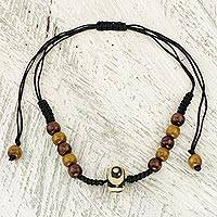 Wood beaded necklace, Hope of Ghana - Handcrafted Wood Beaded Necklace with Batik on Bone Accent