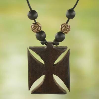 Wood pendant necklace, Adinkra Cross