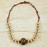 Bauxite and bull horn beaded necklace, 'Star in the Morning' - Fair Trade Beaded Bauxite Necklace with Bull Horn