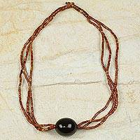 Bauxite and bull horn beaded necklace,
