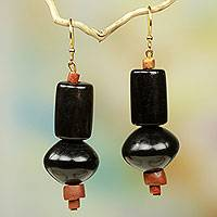 Bull horn and bauxite dangle earrings, 'Midnight Vibe' - Handcrafted Dark Bull Horn Earrings with Brass Hooks