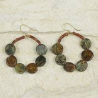 Soapstone and bauxite dangle earrings, 'Akan Remembrance' - African Soapstone Earrings with Natural Bauxite