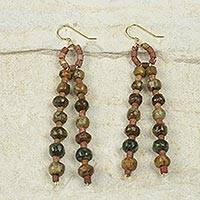 Soapstone beaded earrings, 'Successful Harmony' - African Beaded Jewelry Handmade Soapstone Bauxite Earrings