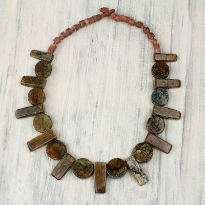 Soapstone and bauxite beaded necklace, 'Nkyia' - Artisan Crafted Bead Necklace with Soapstone and Bauxite