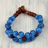 Beaded bracelet, 'Melodious Blues' - Blue and Brown Beaded Bracelet with Cats Eye and Bauxite