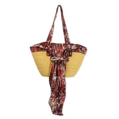 Cotton and Straw Batik Shoulder Bag in Cinnabar from Ghana