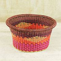 Straw basket, 'Colorful Weave' - Handcrafted Colorful Straw Basket from Ghana
