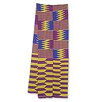 Cotton blend kente cloth scarf, 'Obi Nkyere Akwadaa Nyame' (10 inch width) - Handwoven Traditional Cotton Blend 10-Inch Width Kente Cloth