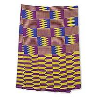 Cotton blend kente cloth scarf, 'Obi Nkyere Akwadaa Nyame' (19 inch width) - Blue Purple Handwoven 19-Inch Width Traditional Kente Cloth
