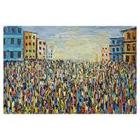 'Great Ashanti Market ' - Original Signed Painting of an African Urban Market