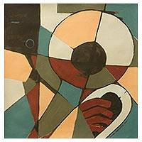 'French Horn' - Music Theme Original Modern Cubist Painting from Ghana