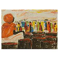 'Market Queen' - Expressionist West African Market Scene Painting