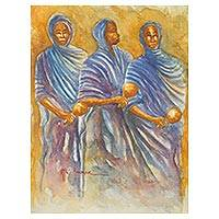 'Northern Ensemble' - Traditional Ghanaian Musicians with Rattles Signed Painting
