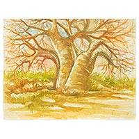 'The Baobab Tree I' - Original Signed Watercolor African Landscape Painting