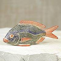 Wood sculpture, 'Orange Fin Tilapia' - Artisan Carved African Wood Sculpture of Orange Fin Fish