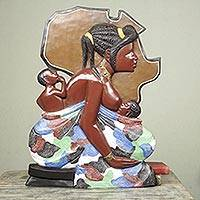 Wood wall sculpture, 'One Day' - Hand Painted Low Relief African Wood Wall Sculpture