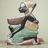 Wood wall sculpture, 'Good African Mother' - Hand Painted Mother and Child African Wood Wall Sculpture