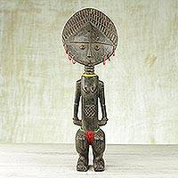 Wood fertility doll, 'Dipo Ritual' - Hand Carved Wood Fertility Doll from Ghana