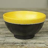 Wood centerpiece, 'Osu Sunshine' - Ghana Handcrafted Black and Yellow Wood Centerpiece Bowl