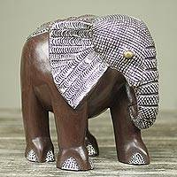 Wood sculpture, 'African Bush Elephant' - Handcrafted Wood Elephant Sculpture with Aluminum and Brass