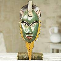 African wood mask, 'A Healer' - Hand Carved Green and Yellow African Wall Mask