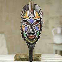 African wood mask, 'Swahili Healer' - Original African Beaded Mask of Swahili Medicine Man