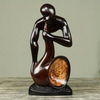 Ebony wood sculpture, 'Saxman' - Saxophone Player Hand Carved Abstract Wood Sculpture