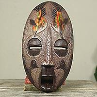 African wood mask, 'Dolphin' - African Wood and Aluminum Mask with Dolphin Motif