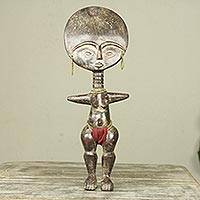 African wood sculpture, 'Fante Fertility Doll III' - Fair Trade African Hand Carved Wood Fertility Doll Figurine