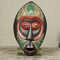 African wood mask, 'God Will Respond' - Artisan Crafted Multicolor Brass Embellished African Mask