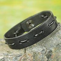 Men's leather bracelet, 'Run Along in Black' - African Artisan Crafted Black Leather Bracelet for Men