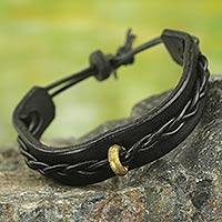 Men's leather bracelet, 'Twist and Shout in Black' - Men's Black Leather Wristband Bracelet with Braided Accent