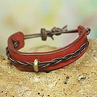Men's leather bracelet, 'Twist and Shout in Red' - Handmade Leather Bracelet for Men in Red and Brown