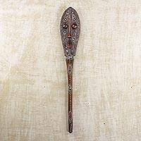African wood mask, 'Banku Ta III' - Hand Crafted Embossed Metal and Wood Mask from Africa