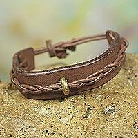 Men's leather bracelet, 'Twist and Shout in Tan' - Artisan Crafted Tan Leather and Brass Bracelet for Men