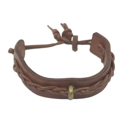 Artisan Crafted Tan Leather and Brass Bracelet for Men