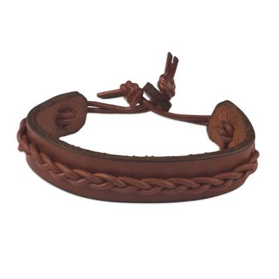 Tan Colored Leather Wristband Bracelet for Men