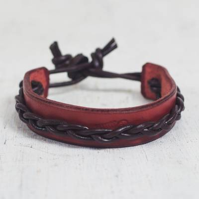 Men's leather bracelet, 'Simple Twist in Red' - African Red and Brown Braided Wristband Bracelet for Men