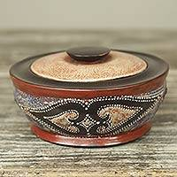 Wood decorative box, 'Akan Diamond Hearts' - Artisan Crafted Wood Decorative Box with Aluminum Diamonds