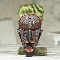 African wood mask, 'Odinkro' - Hand Carved African Mask in Wood with Metal Accents