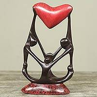 Wood sculpture, 'Family Love I' - Original African Wood Sculpture of Family with Heart
