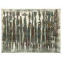 'Product Confusion' - Original Grey and White Painting of African Market Scene